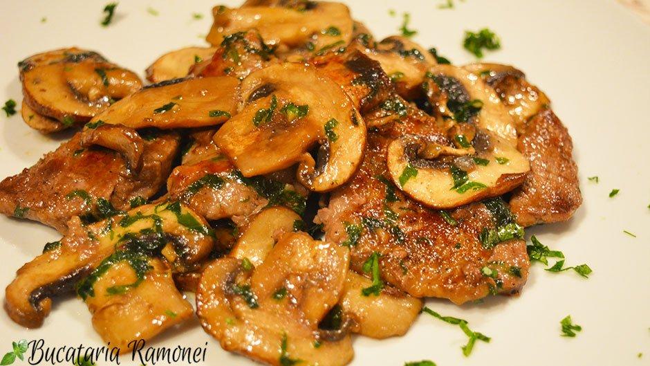 Fasii din carne de vita cu ciuperci