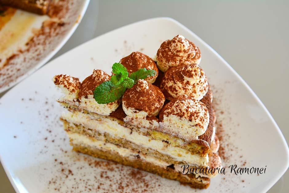 Tort tiramisu cu crema mascarpone fara oua