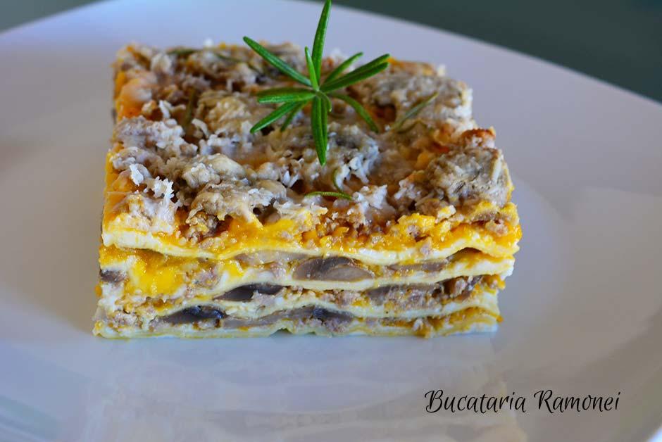 Lasagna cu dovleac si ciuperci