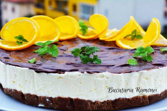 Cheesecake cu portocale si ciocolata